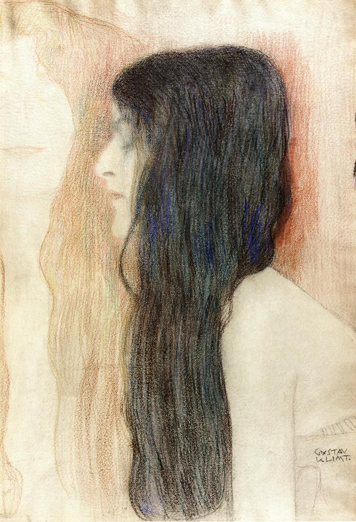 Gustav Klimt Sketches   Girl with Long Hair, with a sketch for 'Nude Veritas'