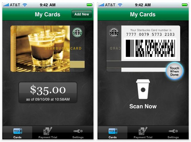 The flip of starbucks card.