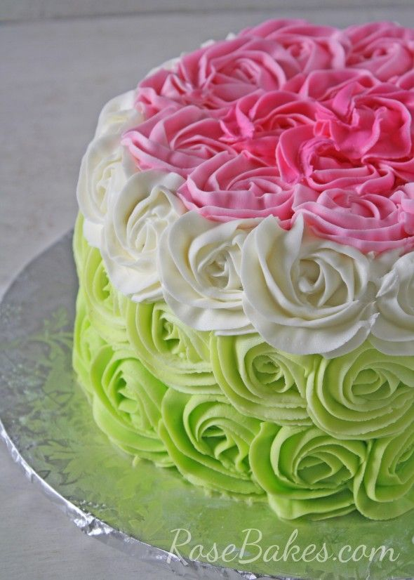 Ombre Roses Cake and CrAzY Blog Comments... go see both HERE: http://rosebakes.com/ombre-buttercream-roses-cake-crazy-comments/