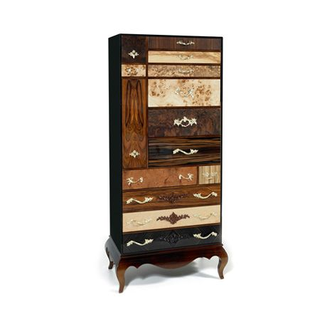 Queens Highboy by Boca do Lobo | Queens Highboy is a modern highboy with a variety of exotic wood leafs that presents an amazing combination of wood styles. www.bocadolobo.com