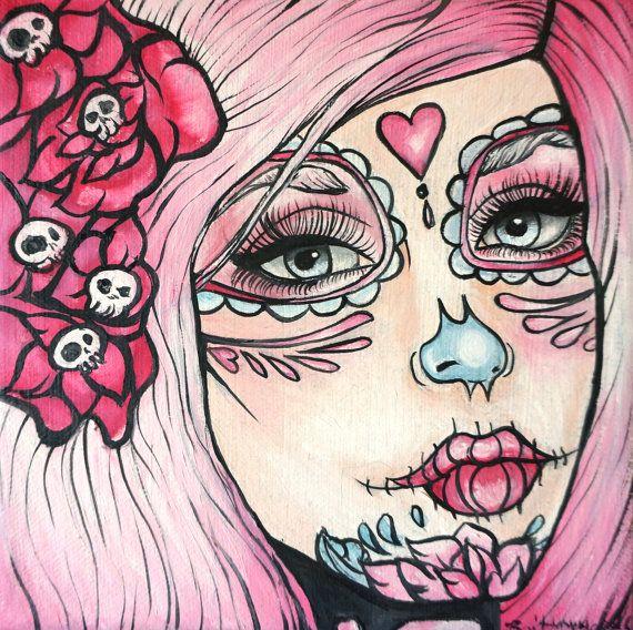 Nissa - 8 x 8 pouces étiré Canvas Print jour des crânes en sucre mignon cheveux coeurs morts et crânes rose