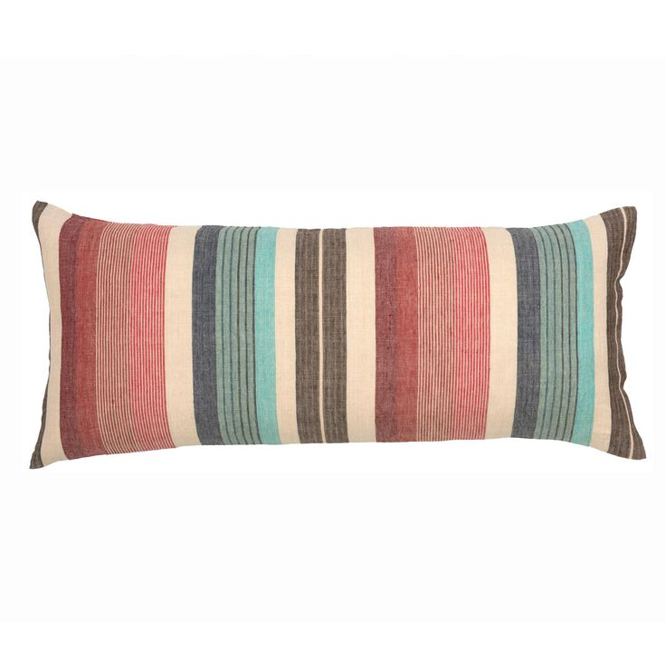 """A new spin on our <a href="""" /Bedding/Duvet-Covers/Treehouse-Linen-Duvet-Cover/p/TLIDC """">Treehouse Linen bedding </a> ,this linen decorative pillow, featuring earthy stripes in shades of indigo, sky, and crimson, is a tribute to New England sunsets.  <br> <br> • 100% Linen. <br /> • Knife edge; zipper closure.  <br /> • Featherdown insert included."""