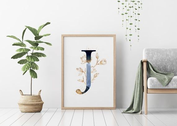 Nursery Poster Wall Art Blue Initial Letter J Home Decor Prints