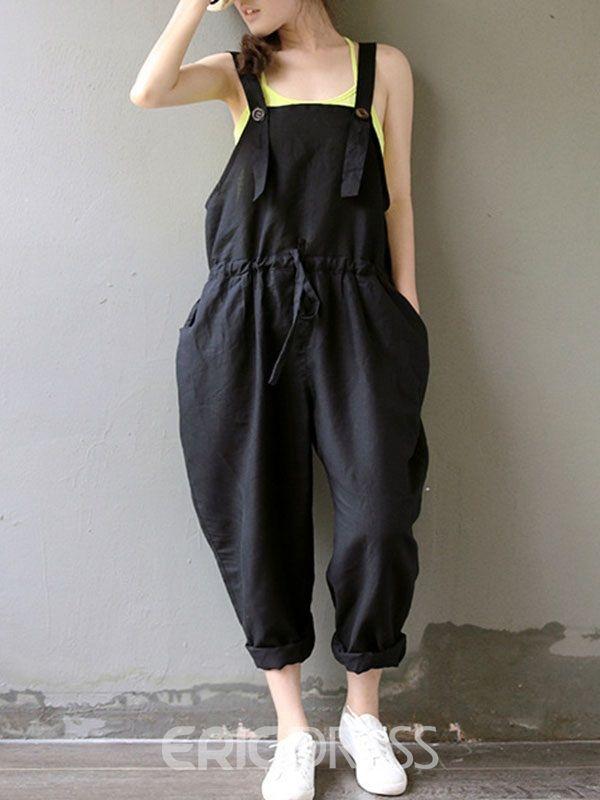 Loose Solid Color Suspender Pants