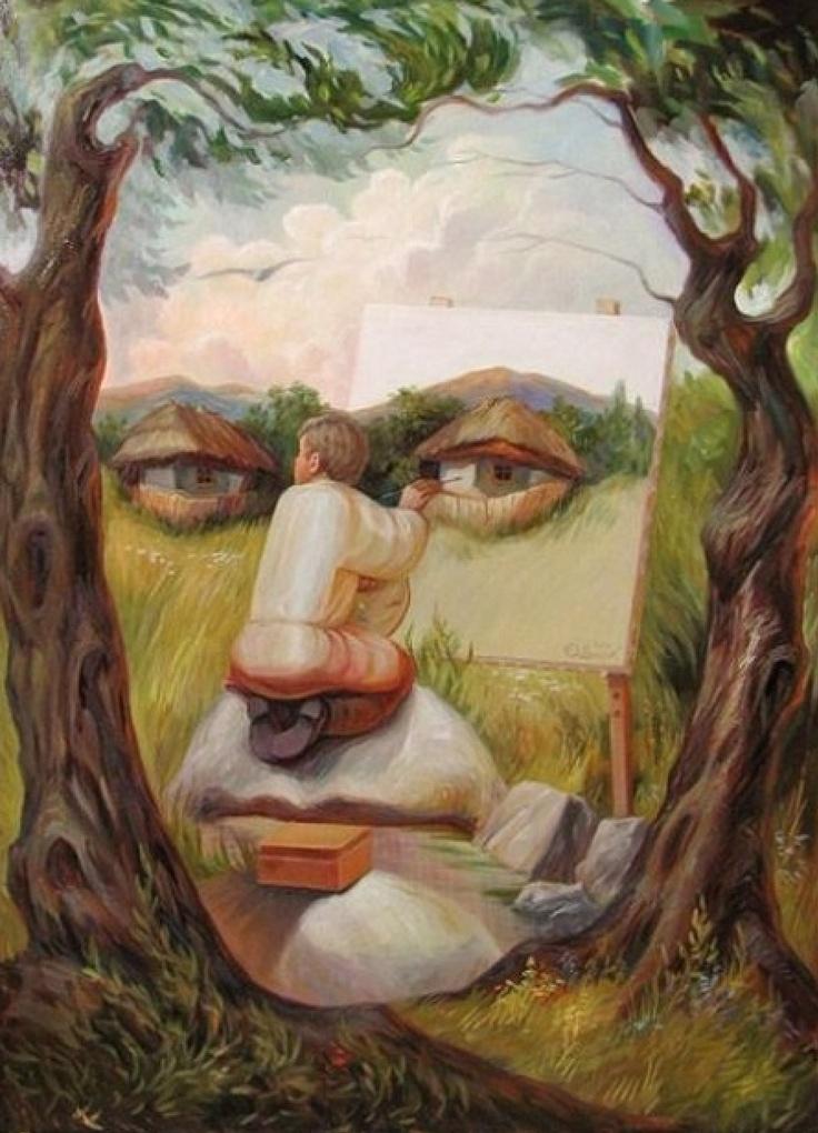 Hier, in dit schilderij is het gezicht de restvorm, omdat hij niet gelijk opvalt.
