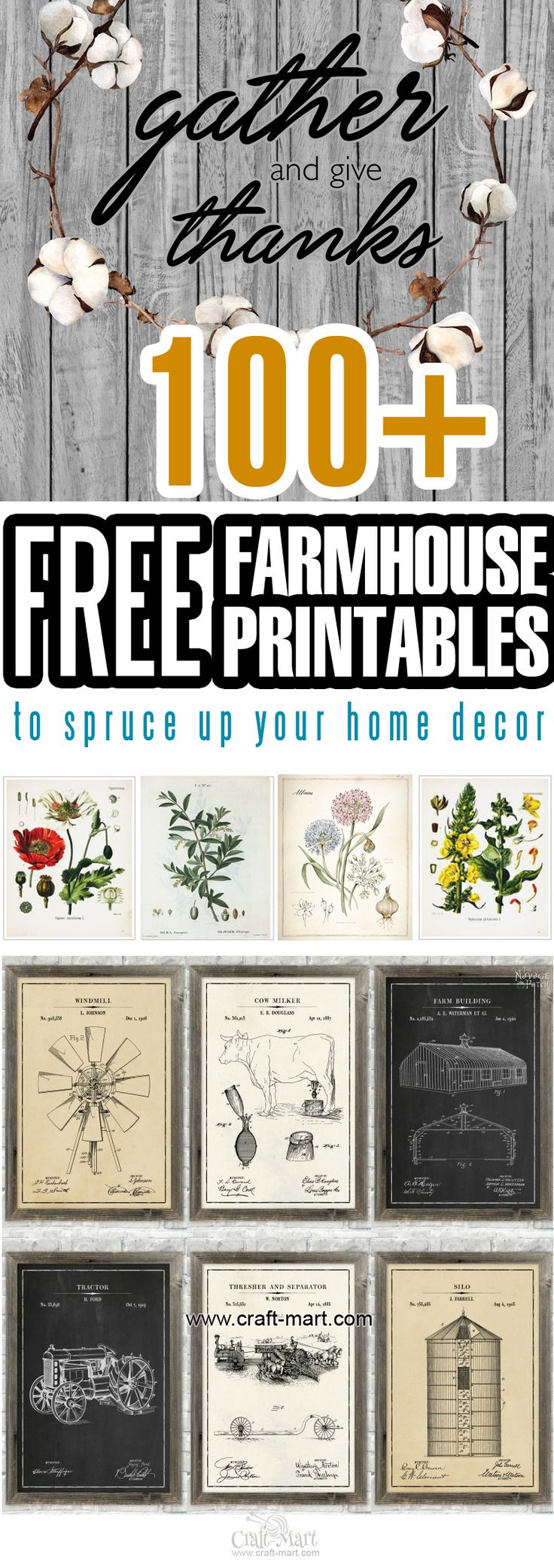 Our team browsed hundreds of free and not-so-free farmhouse printables and came up with a collection of BEST FREE FARMHOUSE PRINTABLES for home decor available. We checked all the sites for the authenticity of prints they are offering, evaluated the ease and quality of downloads, and made sure that all the links are current and working. #farmhousedecor #farmhouse #freeprintable