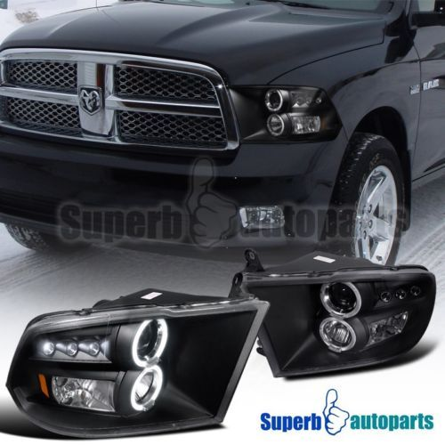 2009-2017 Dodge Ram 1500 2500 3500 Dual Halo LED Projector Headlights Black