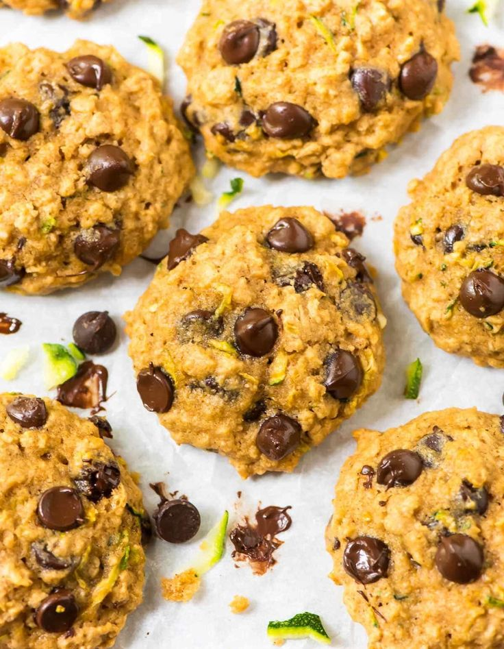 Zucchini Cookies with Chocolate Chips and Oatmeal