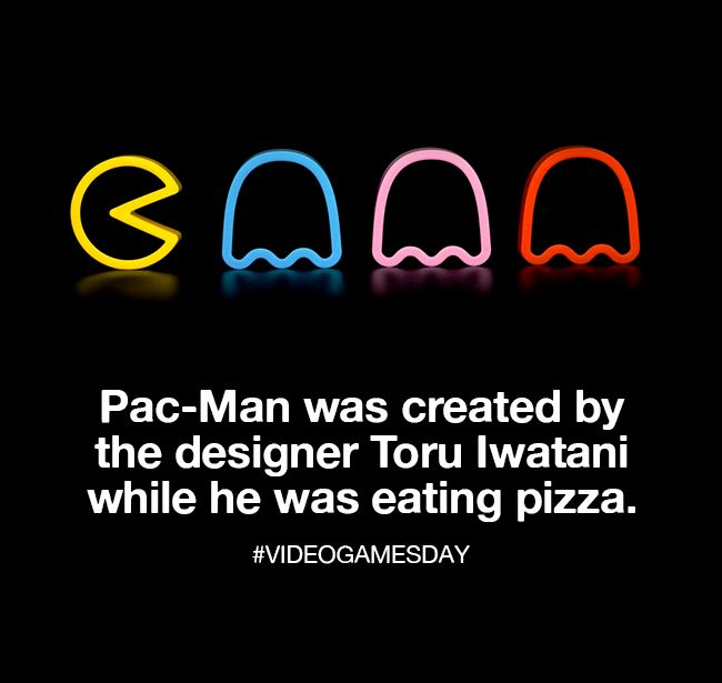 The iconic character Pac-Man was created by the designer Toru Iwatani while he was eating pizza.  Happy #VideoGamesDay!
