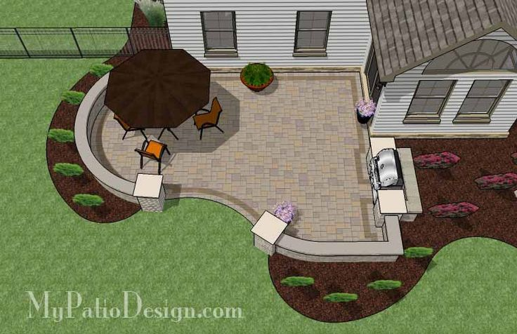 Cheap Backyard Patio Design With Grill Station 2
