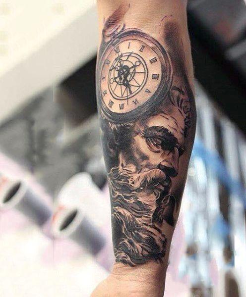 Forearm Greek Zeus Tattoo For Guys