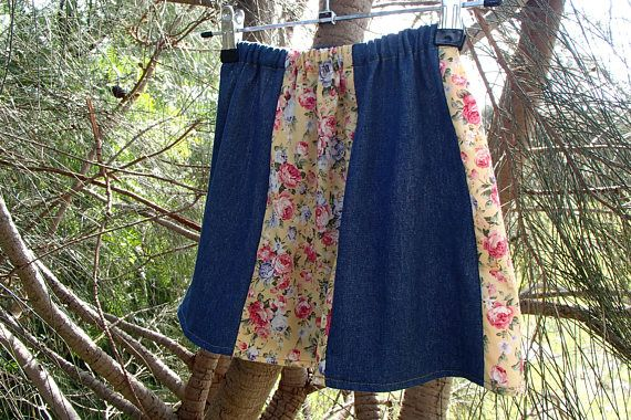 Little girl's denim and floral cotton gore skirt