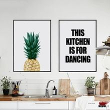 Carteles de Arte de La Pared Impreso Pintura De La Lona Para la Sala de estar Decoración Nórdica Piña Cocina Restaurante Bar Decoración de La Pared Foto(China)