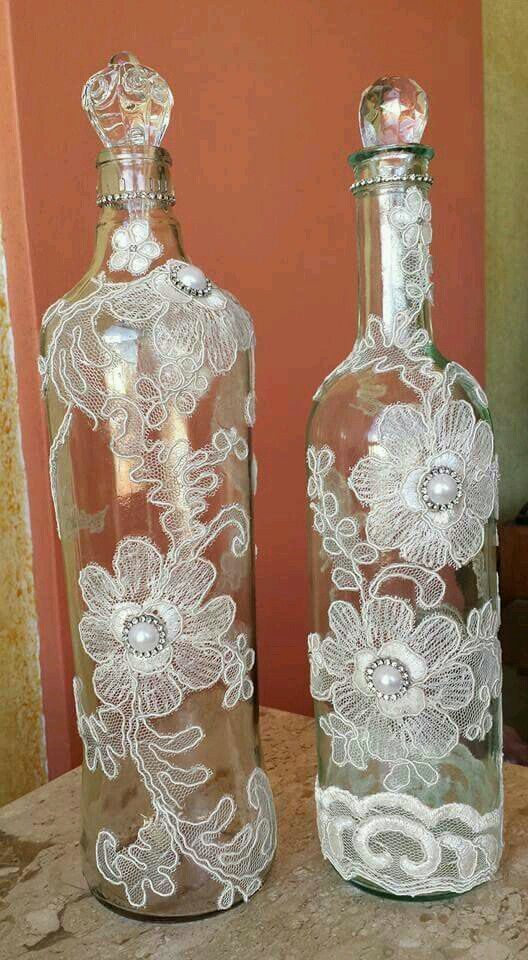 Bottles with pearls and floral doilies #decoratedwinebottles