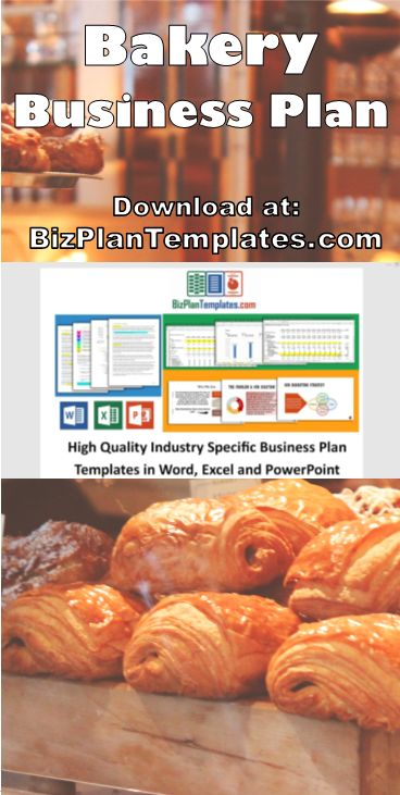 Business Plan for starting a Bakery. Easy to use Template package with sample content and example financial statements.