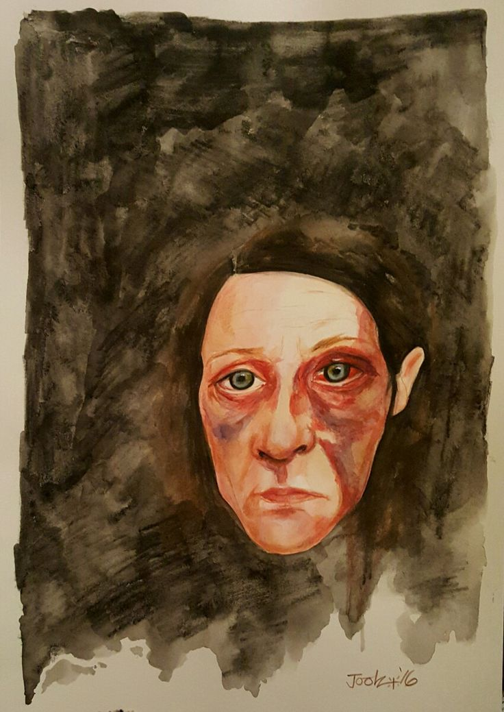 'Stop Your Bloody Nagging You Old Cow'. Aquarelle on A3 watercolour paper. Part of the art/protest project The Women highlighting violence against women. Joolz Denby.