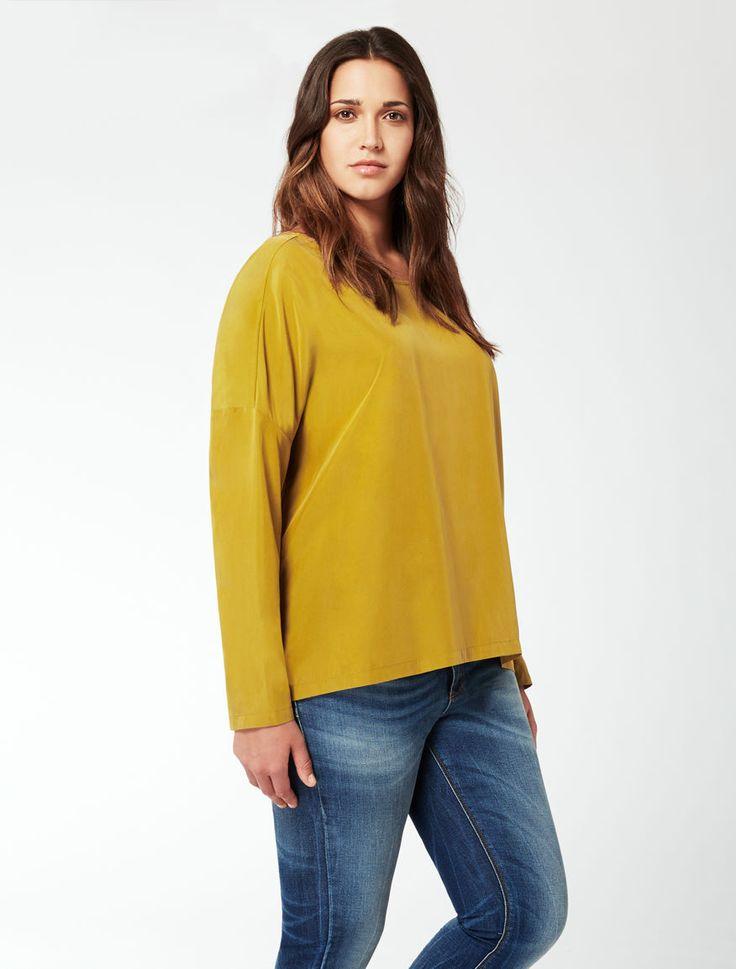 Marina Rinaldi BASIC senape: Camicia in viscosa fluida.