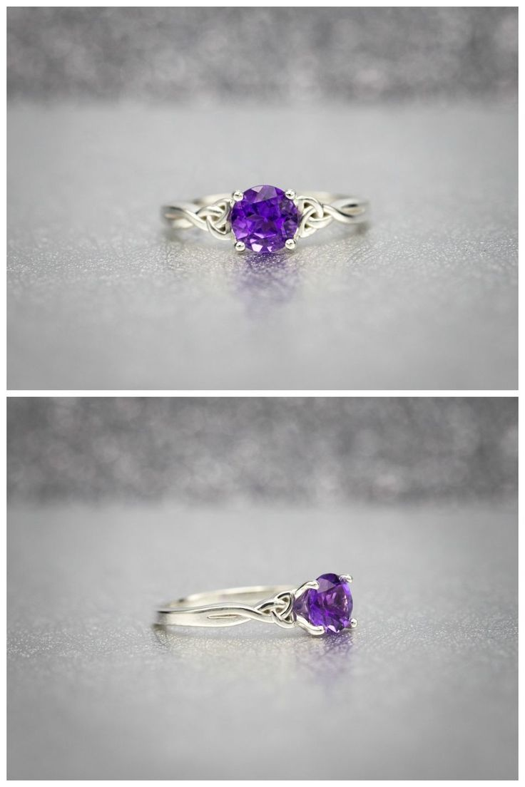 Let's make the case for amethyst engagement rings. A delicate celtic-knot shank with a prominent solitaire setting. This ring is all about the center stone, a gorgeous 6.5mm round amethyst.