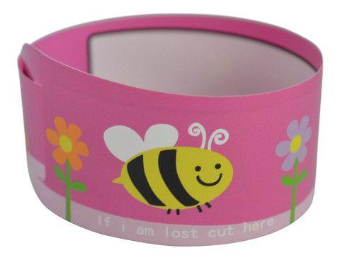pink kids id bracelet