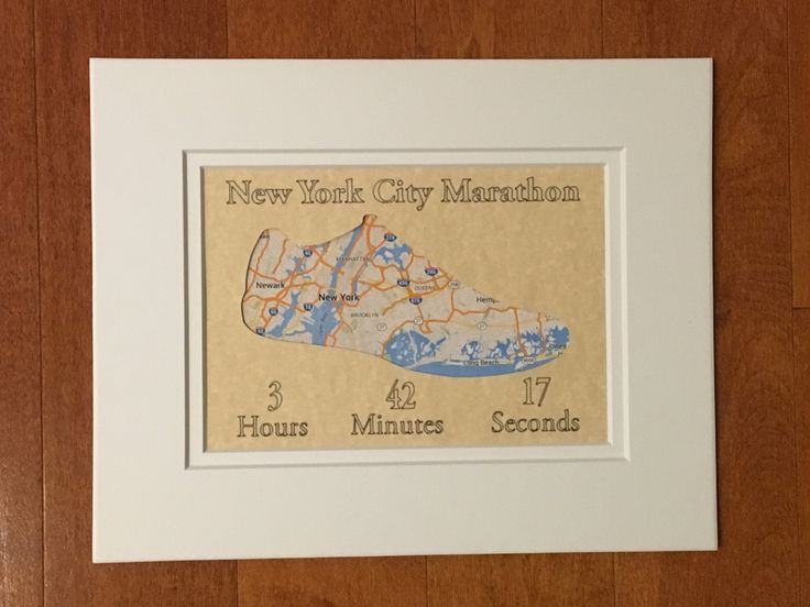 New York City Marathon - Printed with cutouts - Personalized Race Map Matted Gift- Paper Map Art Gift for Runners by InStrideDesigns on Etsy