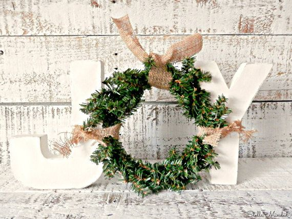 Cottage Chic Ivory Free Standing JOY Letter Sign with Wreath | Rustic Chic Christmas Décor | Front Door Décor | Christmas Mantel Décor