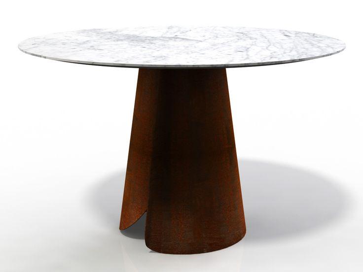 Round wood veneer dining table TATA by HMD INTERIORS