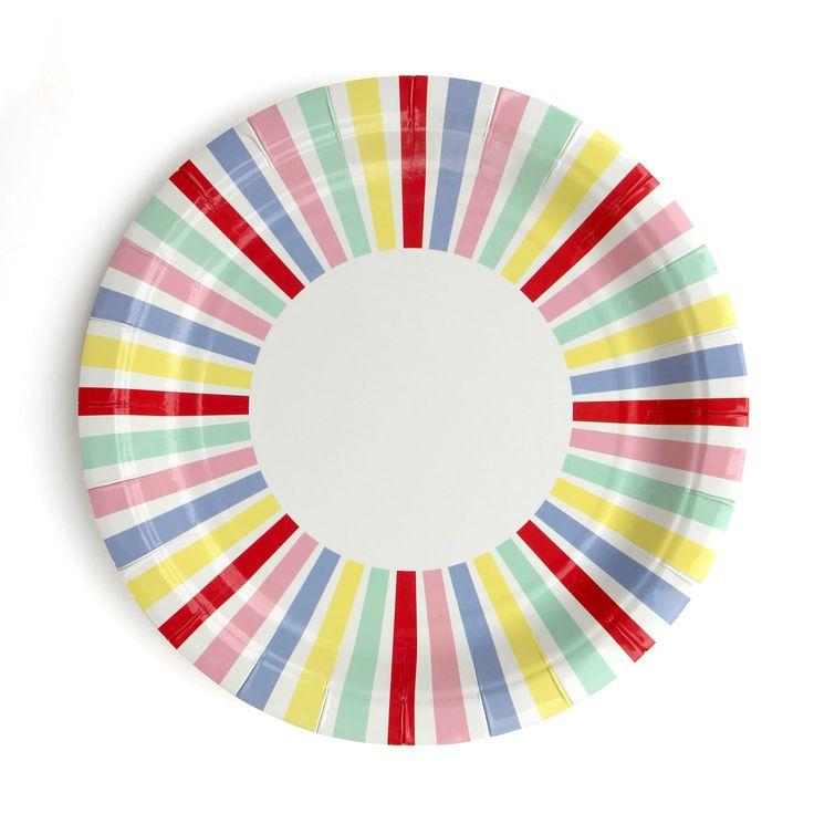 Carnival stripe party plates.