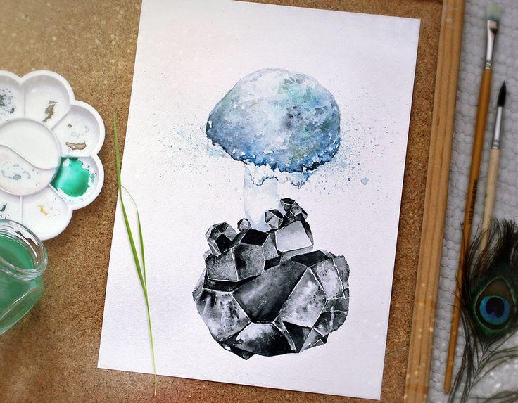 Рождение сущности чёрного кристалла... Акварель, акварельная бумага. Формат 21х28,5см.
