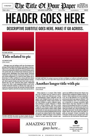 The newspaper template was designed by Ted Fuller on a MacBook Pro using the latest version of Adobe InDesign.
