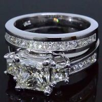 3.88 Ct. Princess Cut 3-Stone Diamond Engagement Ring Set G,VS1 EGL