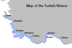 Map of the Turkish Riviera aka Turquoise Coast