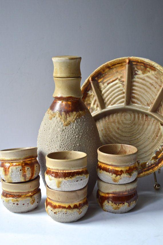 Vintage Saki Set Fat Lava Drip Pottery Laurentian TUNDRA Canadian Pottery Super Saki Set - Decanter (with top), 6 saki cups, sushi serving tray