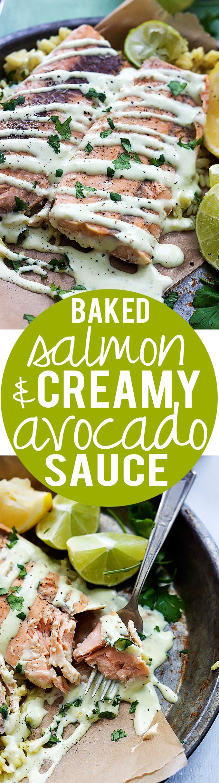 Baked Salmon with Creamy Avocado Sauce | Creme de la Crumb