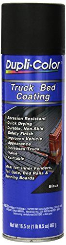 Dupli-Color ETR250A07 Truck Bed Coating Aerosol - 16.5 oz. - Dupli-Color's Truck bed coating is a durable, black vinyl polymer coating that protects truck beds at a fraction of the cost of conventional drop-in truck bed liners. Dupli-Color truck bed coating is designed for the do-it-yourself user and is available with multiple application methods. It can b...
