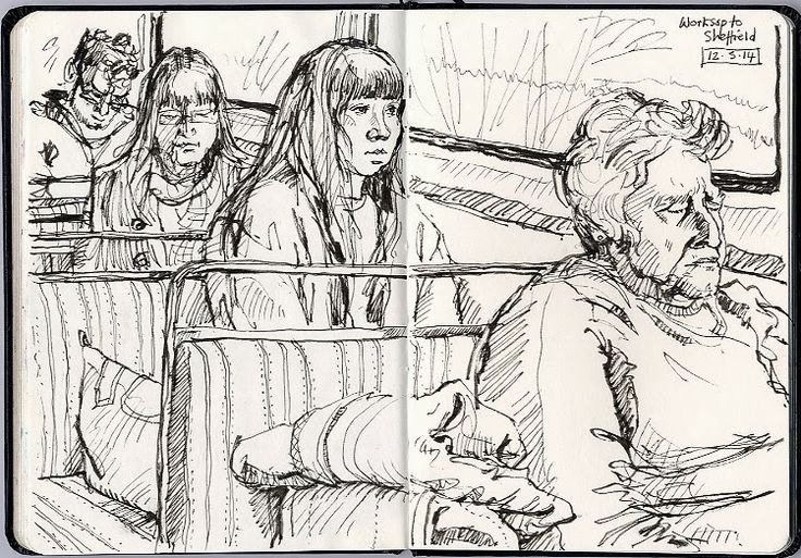 On the train (again!) - drawn with my Sailor fountain pen. Lynne Chapman