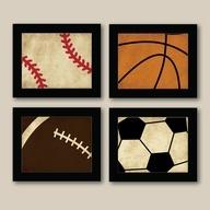 Set of 4 Vintage Sports Prints - Baseball - Football - Basketball - Soccer - Boys Room Decor - Kids Room Wall Art