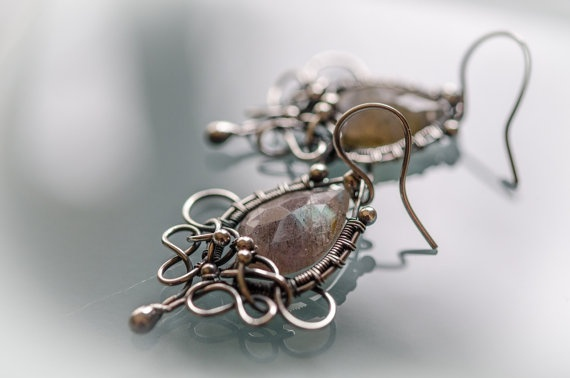 SALE Handmade unique one of a kind wire wrapped blue by ildikova, $57.00