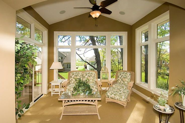 Four Season Porch With Soft Neutral Colors Amp Vaulted
