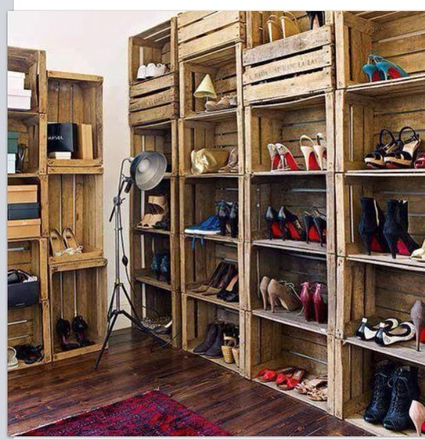 Shoe racks made out of apple crates