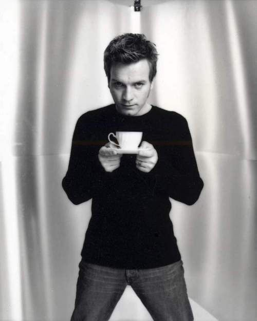 Ewan McGregor drinking coffee.