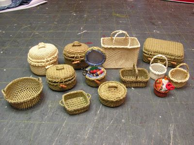 Dollhouse Miniature Furniture - Tutorials | 1 inch minis: 1 INCH SCALE SEWING BASKET - How to make a doll house sewing basket from needlepoint canvas.