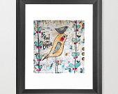 uccelli, stampa 8x10, stanza dei bambini, essere gentile e coraggioso