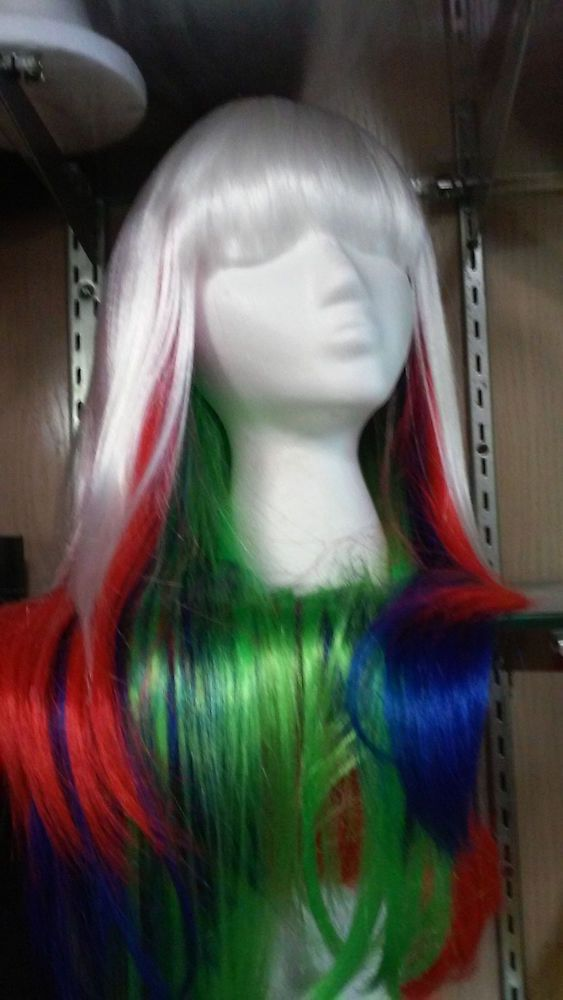 Long Wig White with Red, Blue and Green  Halloween Wig #Betty #FullWig