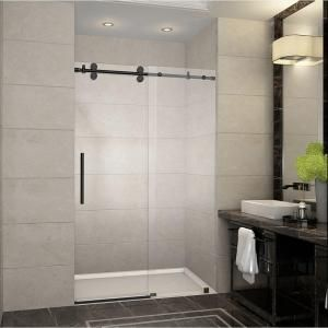 Aston Langham 48 in. x 75 in. Completely Frameless Sliding Shower Door in Oil Rubbed Bronze-SDR978-ORB-48-10 - The Home Depot