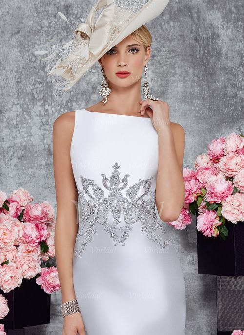 Sheath/Column Scoop Neck Knee-Length Beading Appliques Lace Satin Zipper Up Regular Straps Sleeveless Yes Silver Spring Fall General Mother of the Bride Dress