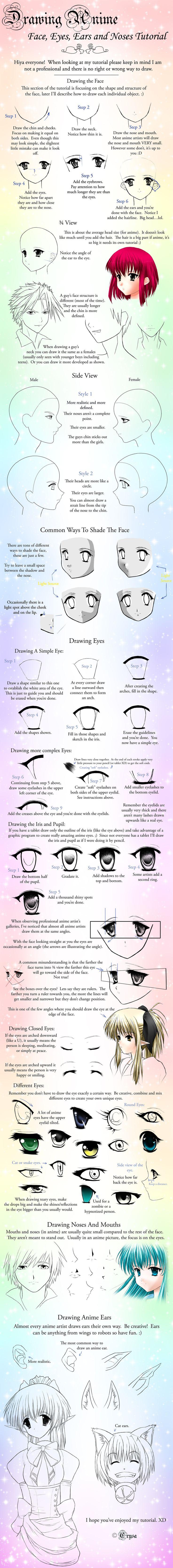 How to draw Manga Faces, manga face, manga eyes, manga nose Japanese manga tutorial