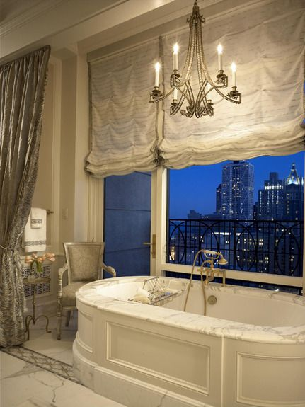 bath with a skyline view