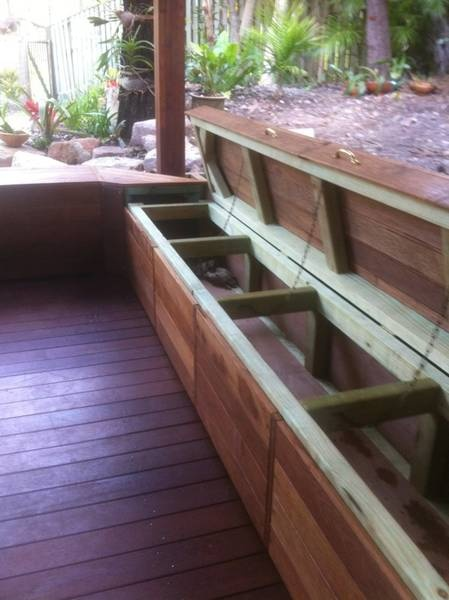 Outdoor bench seat 4 (bulit from coolroom panels with drainage for esky!)