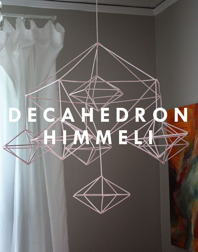 I know what you are thinking: Deck-a-wha? Here, let's break it down…. Decahedron: A polyhedron with ten flat faces. Apparently, there are sub-sets of decahedron too. This one is a pentagonal dipyramid decahedron. Just typing that sentence makes me feel pretty effin' mathtastic. Himmeli: A traditional Finnish Christmas ornament made from short strips of straw. …