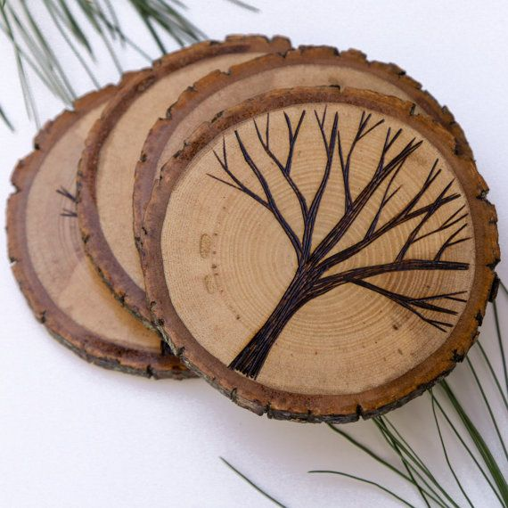 set of 4 rustic wood slice coasters with wood burned tree. Black Bedroom Furniture Sets. Home Design Ideas